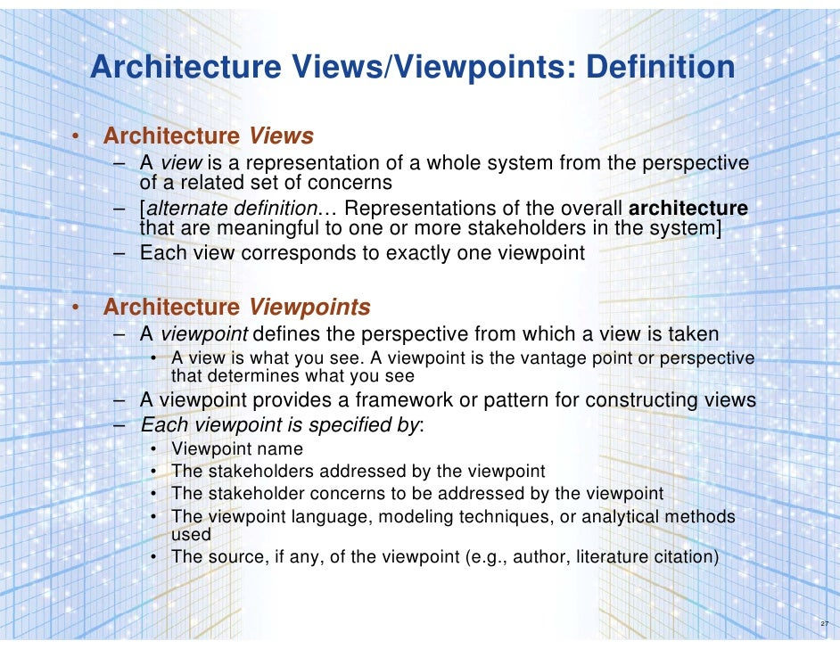 How to architect family of complex space systems and networks for Definition architecture