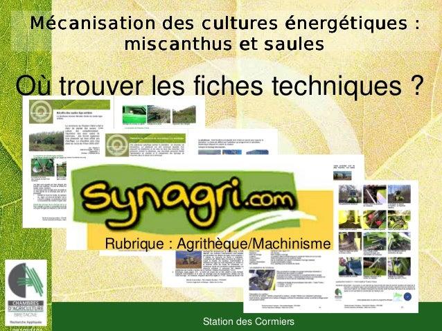 081030101 Station des Cormiers MMMMéééécanisation des culturescanisation des culturescanisation des culturescanisation des...