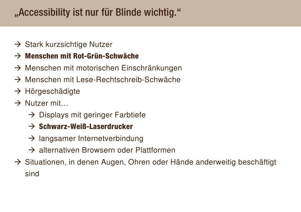 """""""Accessibility ist nur für Blinde wichtig.""""    Stark kurzsichtige Nutzer   Menschen mit Rot-Grün-Schwäche   Menschen mit m..."""