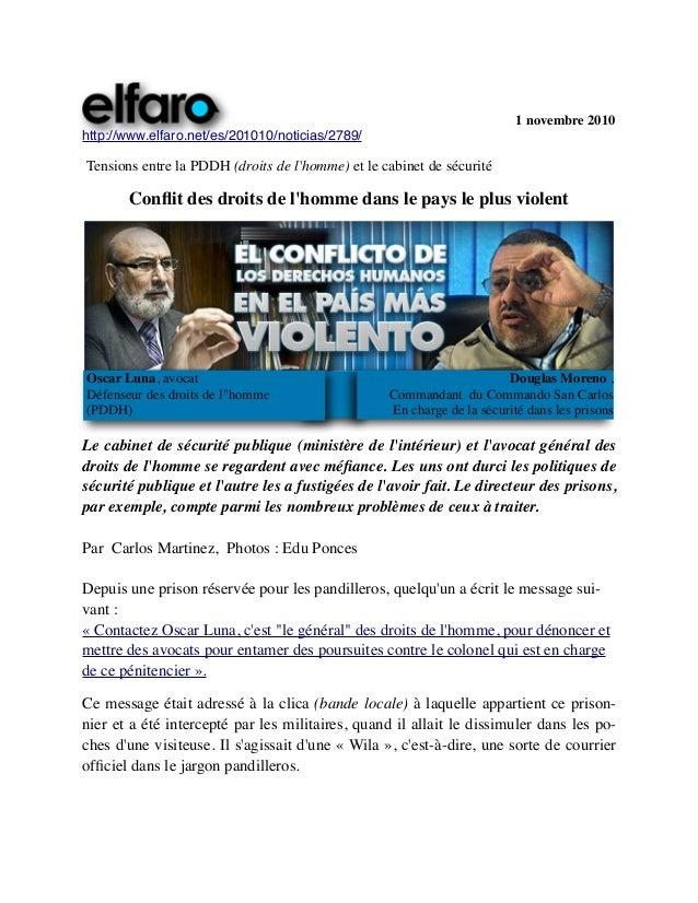 c                   1 novembre 2010 http://www.elfaro.net/es/201010/noticias/2789/ Tensions entre la PDDH (droits de l'hom...