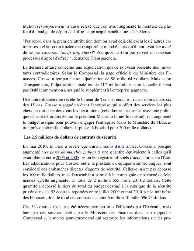 titution (Transparencia) a aussi relevé que l'on avait augmenté le montant du pla- fond du budget de départ de l'offre, le...