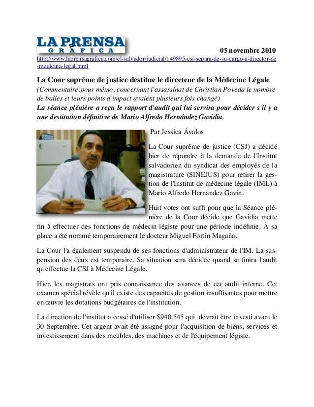 05 novembre 2010 http://www.laprensagrafica.com/el-salvador/judicial/149895-csj-separa-de-su-cargo-a-director-de -medicina-...