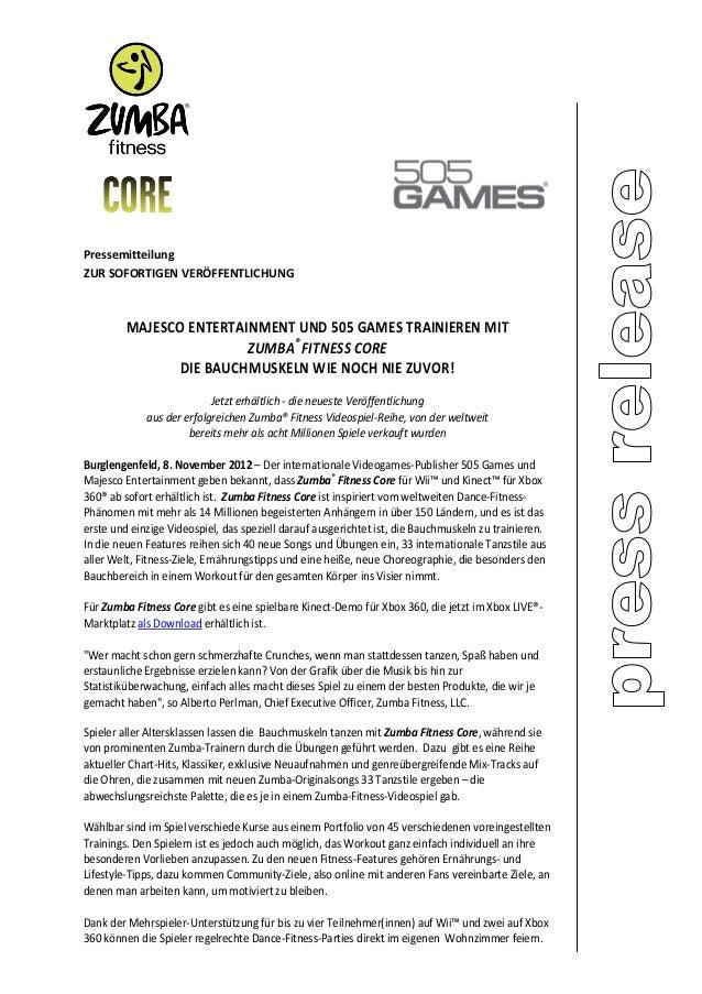 PressemitteilungZUR SOFORTIGEN VERÖFFENTLICHUNG         MAJESCO ENTERTAINMENT UND 505 GAMES TRAINIEREN MIT                ...