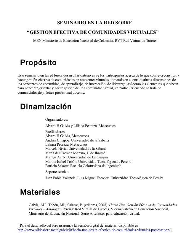 """SEMINARIO EN LA RED SOBRE """"GESTION EFECTIVA DE COMUNIDADES VIRTUALES"""" MEN Ministerio de Educación Nacional de Colombia, RV..."""