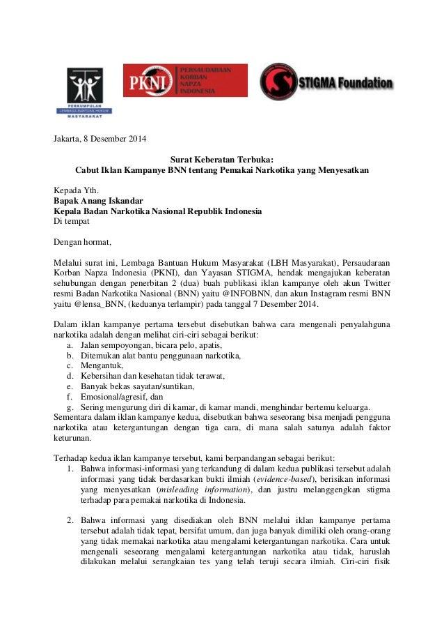 Surat Keberatan Terbuka Lbh Masyarakat Pkni Yayasan Stigma Cabut