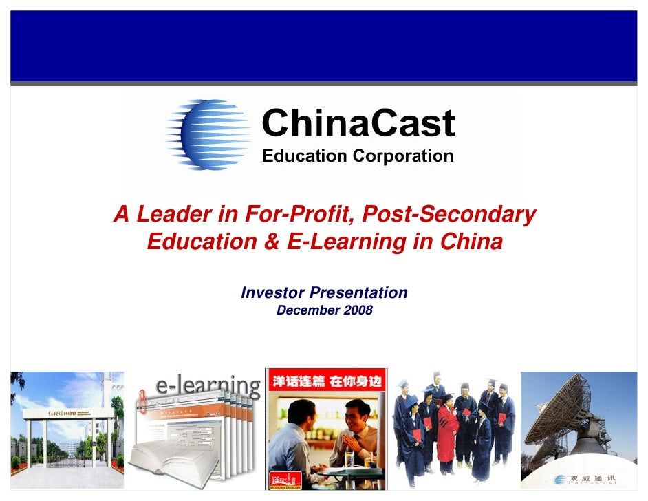 A Leader in For-Profit, Post-Secondary    Education & E-Learning in China             Investor Presentation               ...
