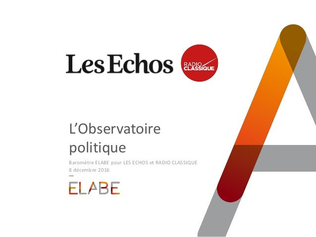 L'Observatoire politique Baromètre ELABE pour LES ECHOS et RADIO CLASSIQUE 8 décembre 2016