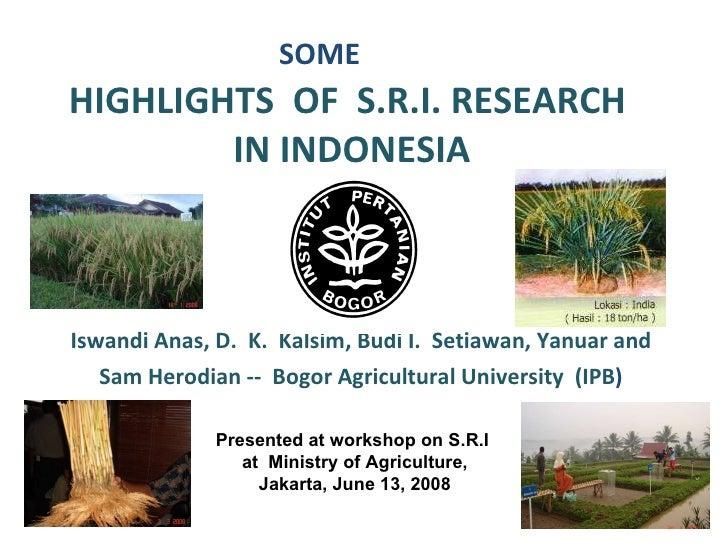 SOME HIGHLIGHTS  OF  S.R.I. RESEARCH  IN INDONESIA   Iswandi Anas, D.  K.  Kalsim, Budi I.  Setiawan, Yanuar and  Sam Hero...