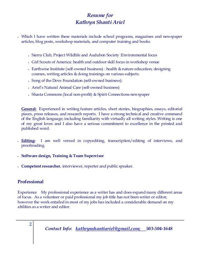Kathryn Shanti Ariel Technical Writing Resume A