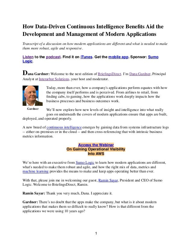How Data-Driven Continuous Intelligence Benefits Aid the Development and Management of Modern Applications Transcript of a ...