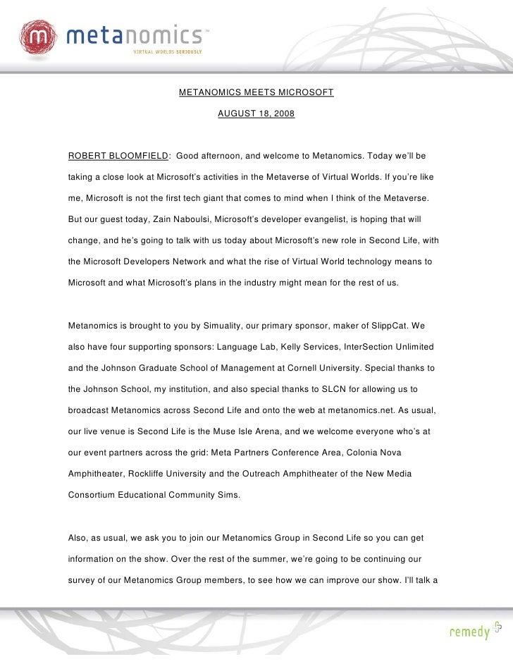 METANOMICS MEETS MICROSOFT                                         AUGUST 18, 2008    ROBERT BLOOMFIELD: Good afternoon, a...