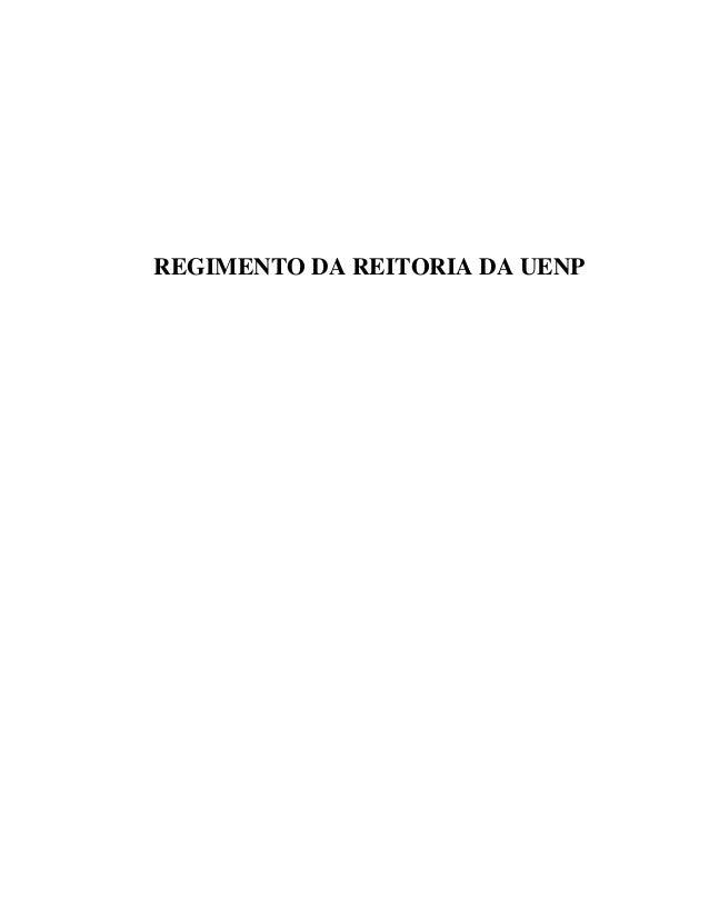 REGIMENTO DA REITORIA DA UENP