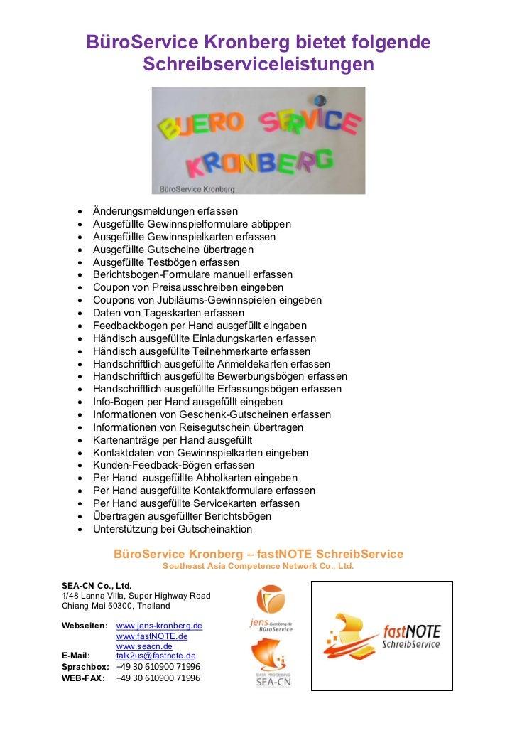 BüroService Kronberg bietet folgende            Schreibserviceleistungen   •   Änderungsmeldungen erfassen   •   Ausgefüll...