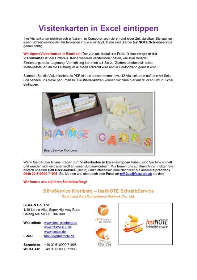 Schreibserviceleistung Visitenkarten Einpflegen