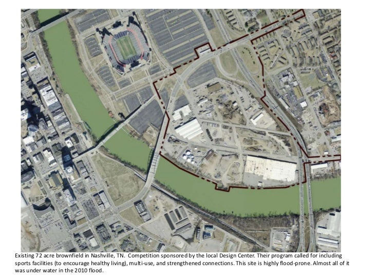 Existing 72 acre brownfield in Nashville, TN. Competition sponsored by the local Design Center. Their program called for i...