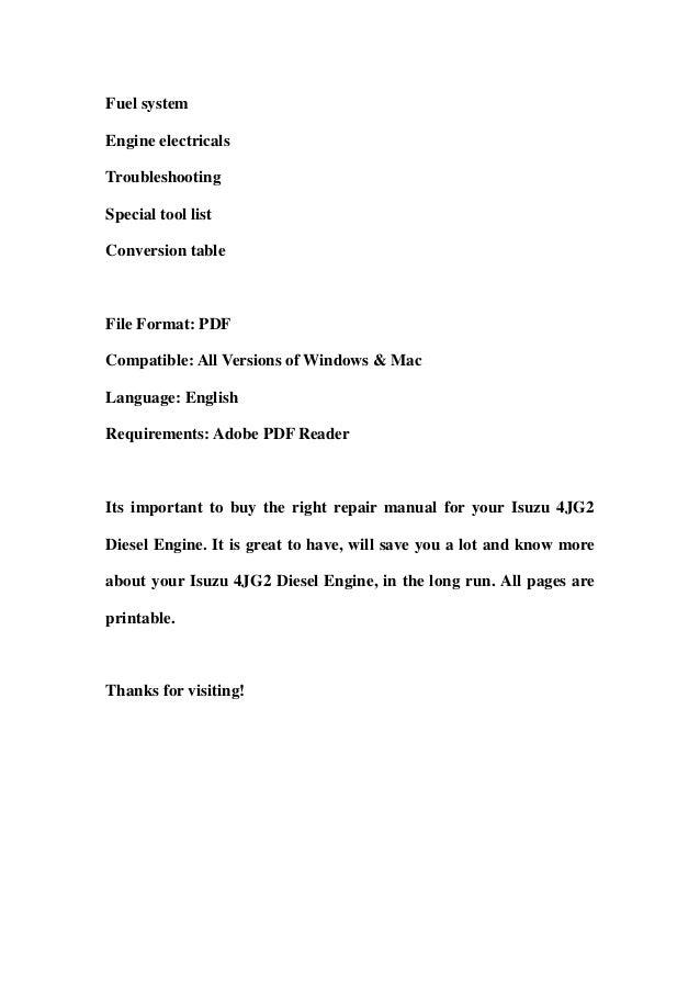 Isuzu 4JG2 Diesel Engine Service Repair Workshop Manual DOWNLOAD