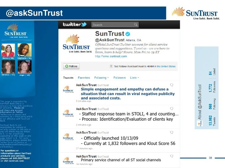 Third Party RecognitionSunTrust's social media program hasbeen featured in:  • Advertising Age  • U.S. News  • Bank Techno...