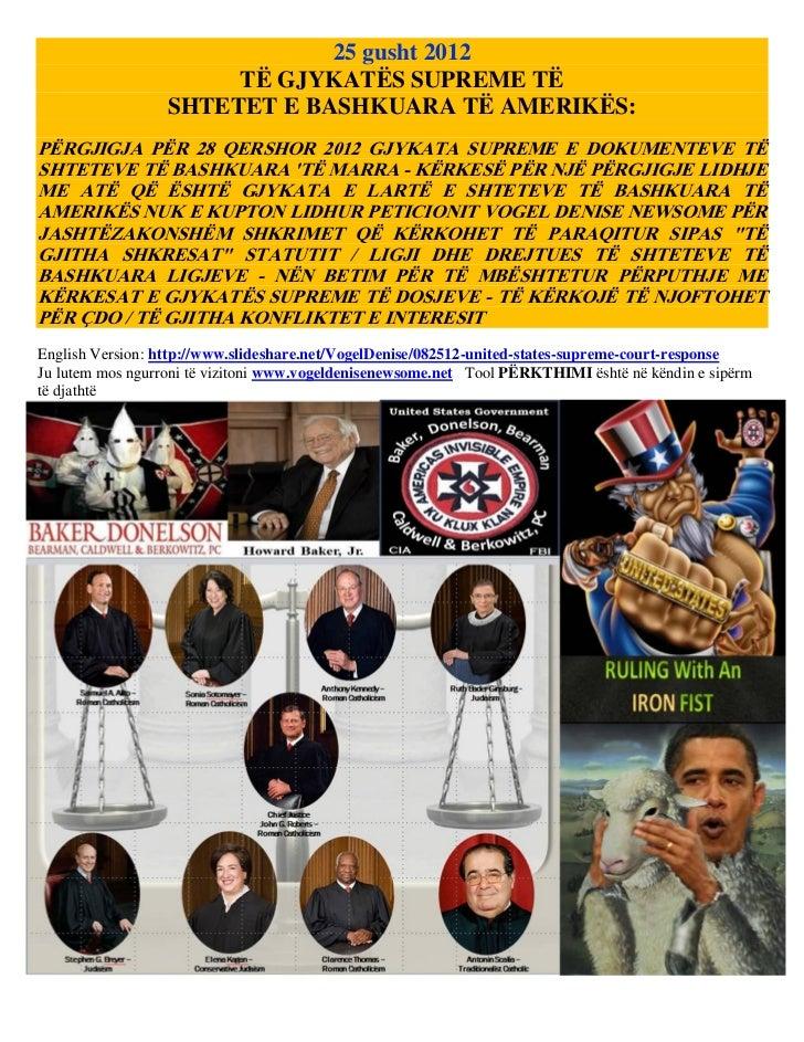 25 gusht 2012                       TË GJYKATËS SUPREME TË                  SHTETET E BASHKUARA TË AMERIKËS:PËRGJIGJA PËR ...