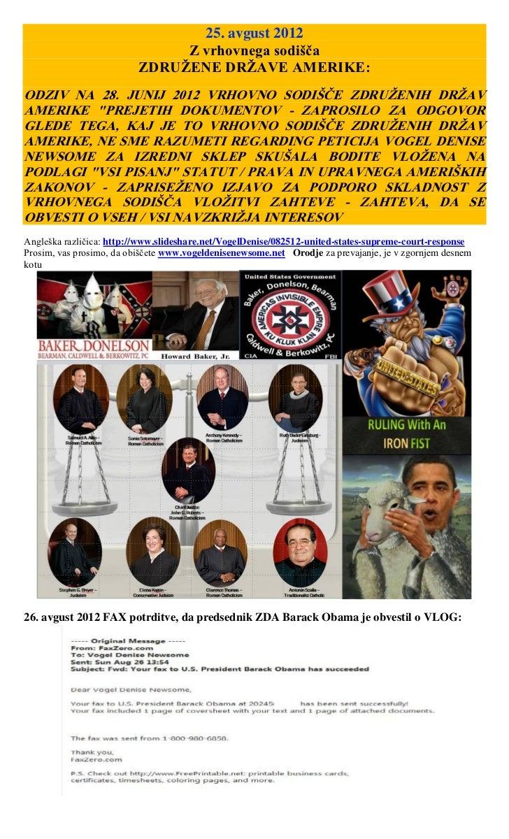 25. avgust 2012                               Z vrhovnega sodišča                          ZDRUŽENE DRŽAVE AMERIKE:ODZIV N...
