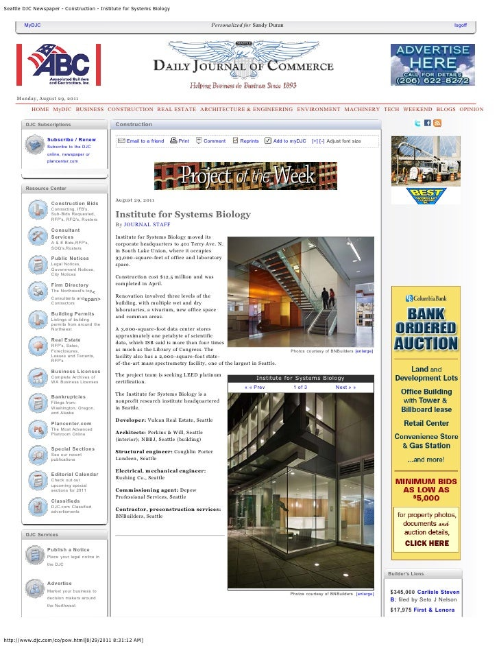 Seattle DJC Newspaper - Construction - Institute for Systems Biology        MyDJC                                         ...