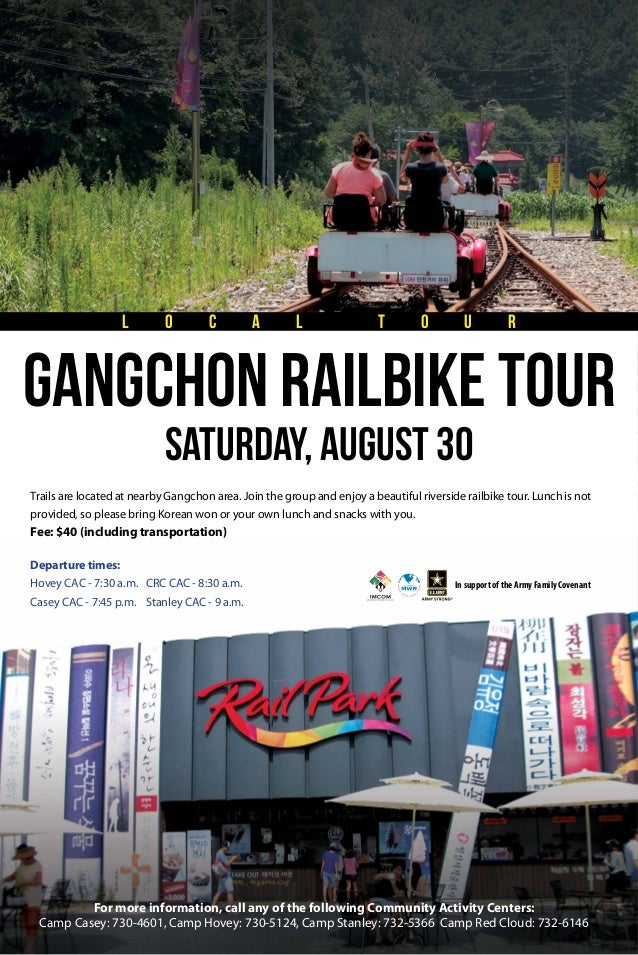 Trails are located at nearby Gangchon area. Join the group and enjoy a beautiful riverside railbike tour. Lunch is not pro...