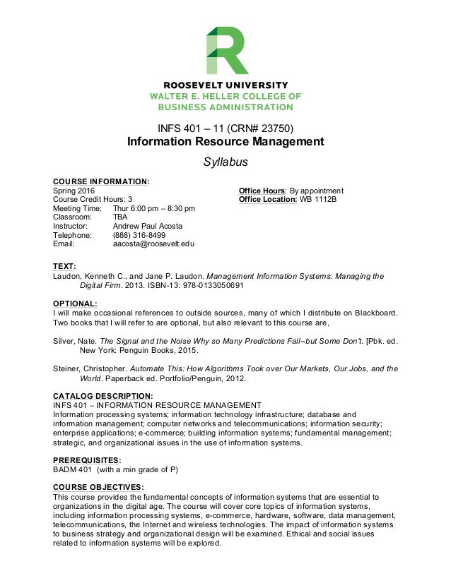 Roosevelt University Email >> Infs 401 Spring 2016