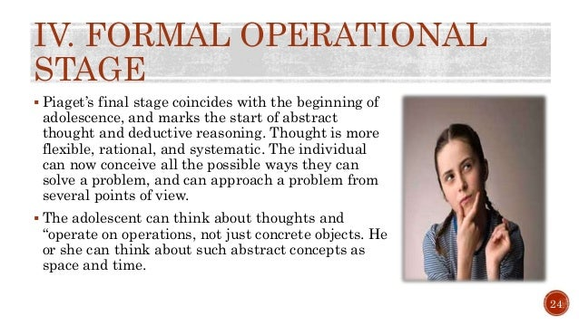 stages-of-cognitive-development-j-piaget-25-638 Formal Operational Stage Thoughts Examples on jean piaget theory, slide powerpoint presentation, real life examples, developmental issue, abstract thinking,