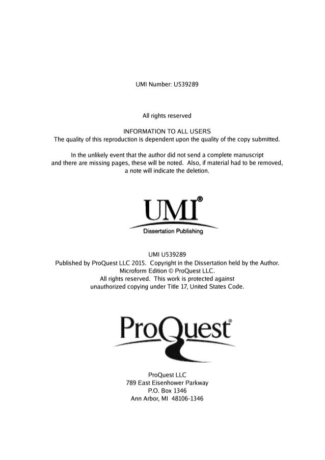dissertation research umi The posting below looks at some important factors to take into consideration when selecting a dissertation topic conduct this research a dissertation is an.