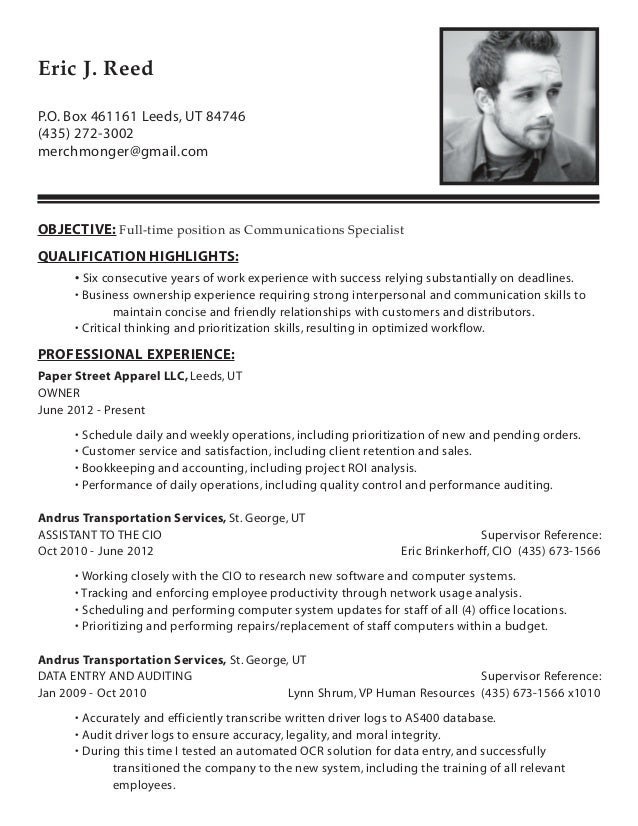 Delightful Resume Eric J Reed Communications Specialist. P.O. Box 461161  Leeds, UT 84746 (