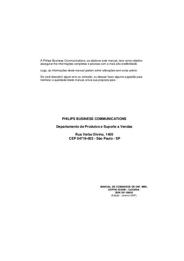 A Philips Business Communications, ao elaborar este manual, teve como objetivo  assegurar-lhe informações completas e prec...