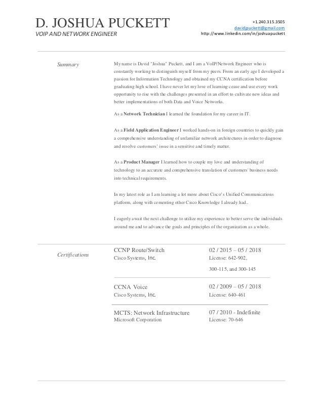 "+1.240.315.3505 davidjpuckett@gmail.com http://www.linkedin.com/in/joshuapuckett Summary Certifications My name is David ""..."