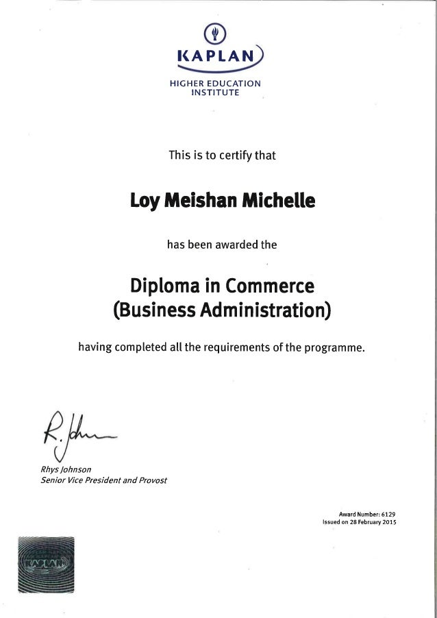 Michelle Loy_Diploma in Commerce Cert