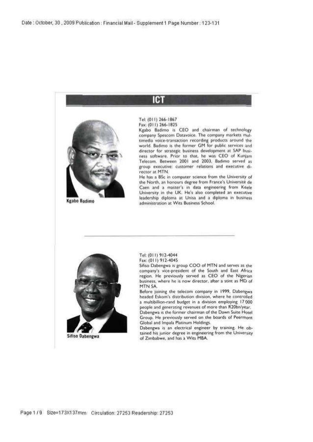 Date : October, 30 , 2009 Publication : Financial Mail - Supplement 1 Page Number: 123-131 Kgabo Badimo Tel: (011) 266-186...