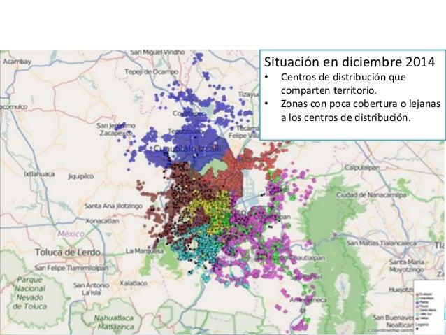 Situación en diciembre 2014 • Centros de distribución que comparten territorio. • Zonas con poca cobertura o lejanas a los...