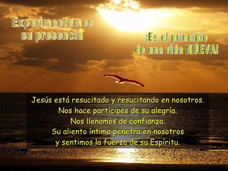 Experimentamos su presencia Jesús está resucitado y resucitando en nosotros. Nos hace partícipes de su alegría. Nos llenam...