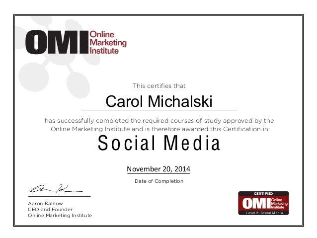 Social Media Certificate of Completion - Carol Michalski