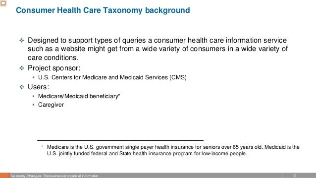 2Taxonomy Strategies The business of organized information Consumer Health Care Taxonomy background  Designed to support ...