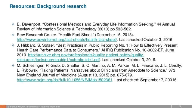 """28Taxonomy Strategies The business of organized information Resources: Background research  E. Davenport. """"Confessional M..."""