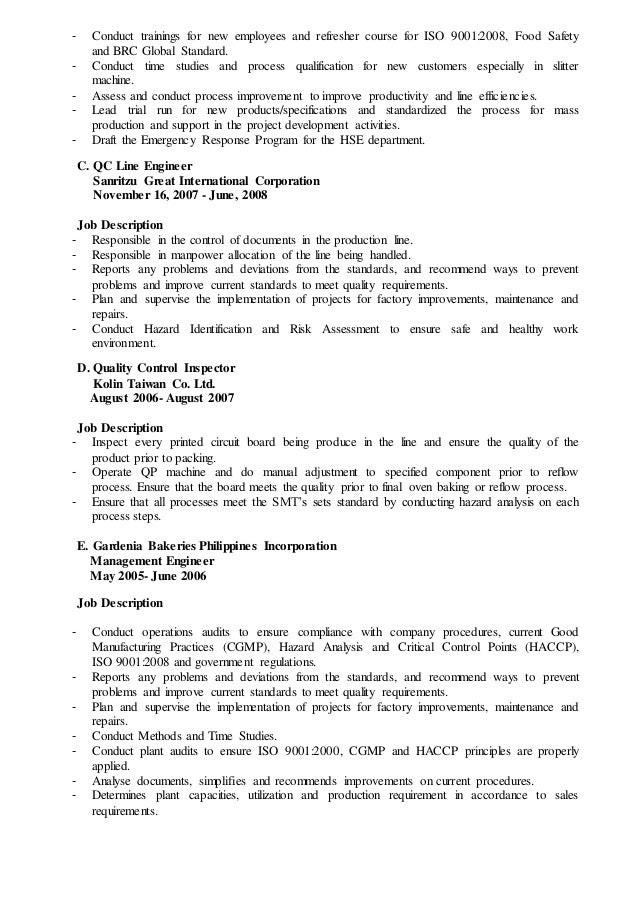 Food safety consultant sample resume