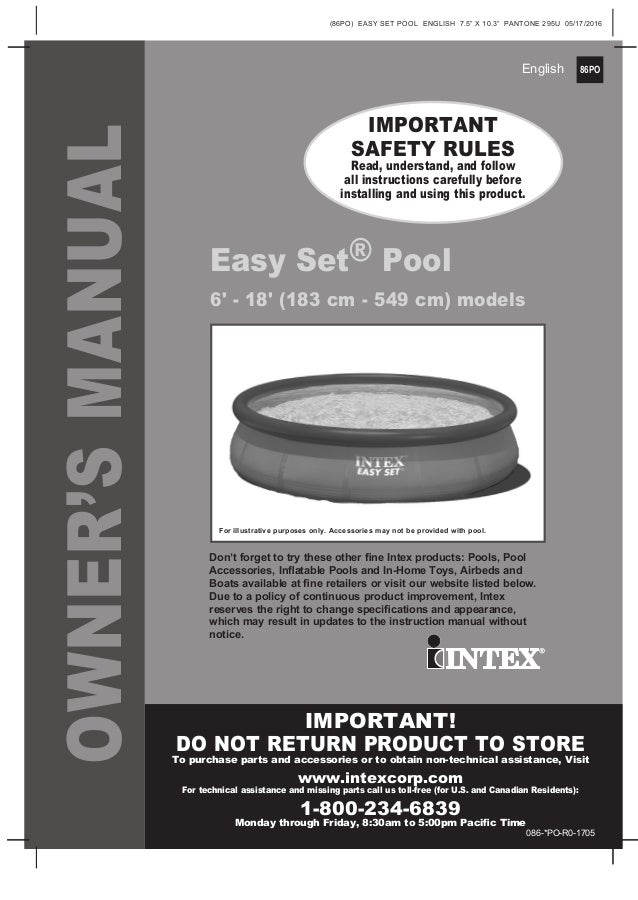 Easy Set Pool By Intex Manual For 6 Foot To 18 Foot Swimming Pools