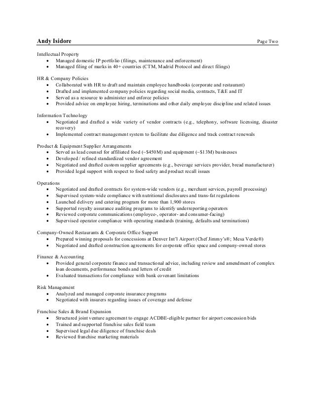 Andy Isidore Resume 101616 – Food Vendor Contract