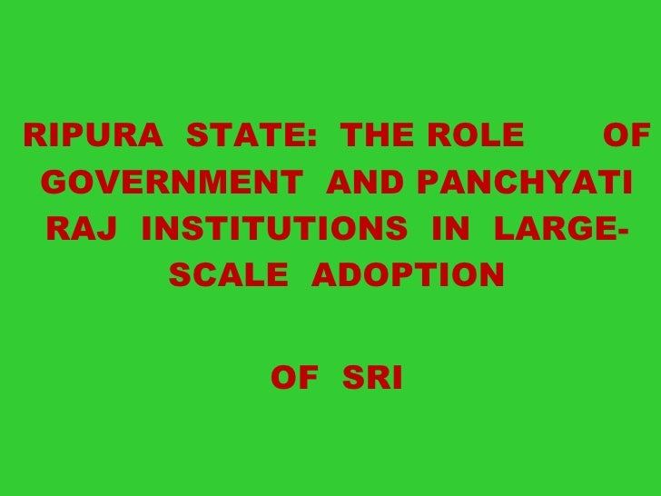 <ul><li>TRIPURA  STATE:  THE ROLE  OF  GOVERNMENT  AND PANCHYATI  RAJ  INSTITUTIONS  IN  LARGE-SCALE  ADOPTION </li></ul><...