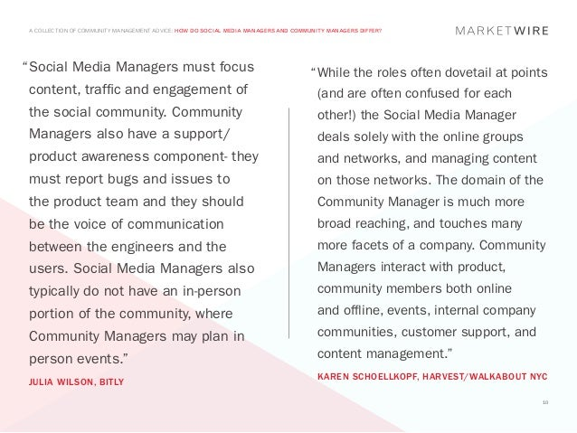 """A COLLECTION OF COMMUNITY MANAGEMENT ADVICE: HOW DO SOCIAL MEDIA MANAGERS AND COMMUNITY MANAGERS DIFFER?"""" ocial Media Man..."""