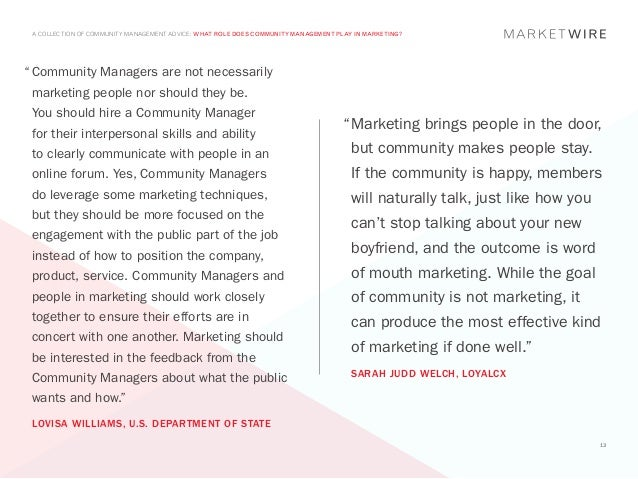 "A COLLECTION OF COMMUNITY MANAGEMENT ADVICE: WHAT ROLE DOES COMMUNITY MANAGEMENT PLAY IN MARKETING?""	Community Managers ar..."