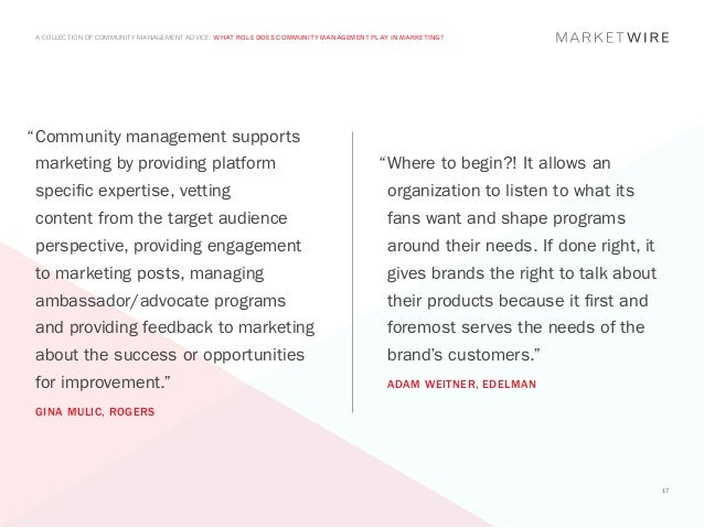"""A COLLECTION OF COMMUNITY MANAGEMENT ADVICE: WHAT ROLE DOES COMMUNITY MANAGEMENT PLAY IN MARKETING?"""" ommunity management ..."""