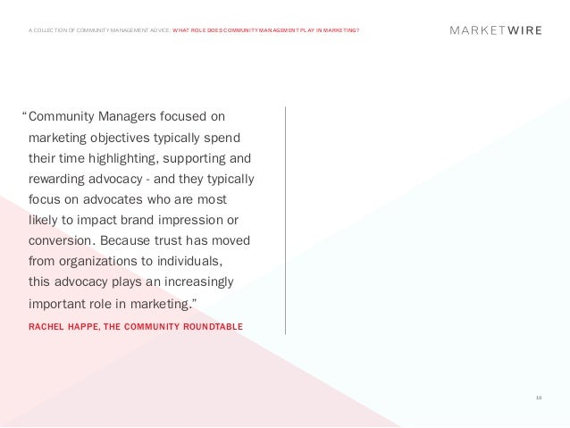 "A COLLECTION OF COMMUNITY MANAGEMENT ADVICE: WHAT ROLE DOES COMMUNITY MANAGEMENT PLAY IN MARKETING?""	 ommunity Managers fo..."