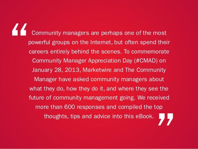 """A COLLECTION OF COMMUNITY MANAGEMENT ADVICE: HOW DO SOCIAL MEDIA MANAGERS AND COMMUNITY MANAGERS DIFFER?""""                 ..."""