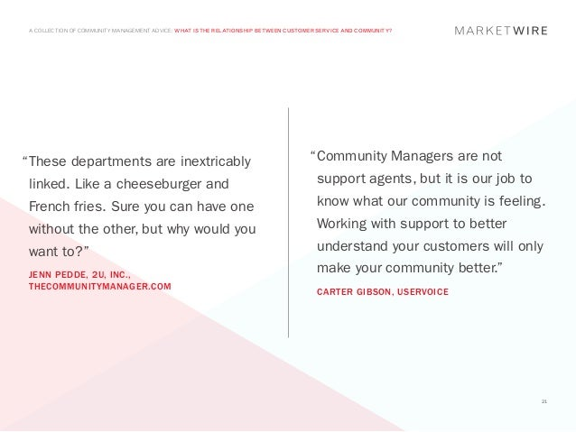 """A COLLECTION OF COMMUNITY MANAGEMENT ADVICE: WHAT IS THE RELATIONSHIP BETWEEN CUSTOMER SERVICE AND COMMUNITY?"""" hese depar..."""