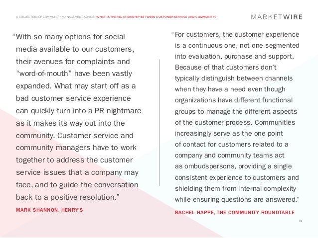"A COLLECTION OF COMMUNITY MANAGEMENT ADVICE: WHAT IS THE RELATIONSHIP BETWEEN CUSTOMER SERVICE AND COMMUNITY?""	 ith so man..."