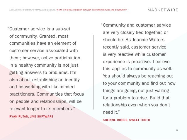 A COLLECTION OF COMMUNITY MANAGEMENT ADVICE: WHAT IS THE RELATIONSHIP BETWEEN CUSTOMER SERVICE AND COMMUNITY?             ...